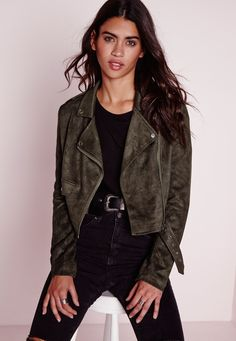 Faux Suede Long Sleeve Biker Jacket Khaki - Coats And Jackets - Biker Jackets - Missguided