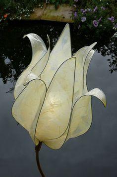 Tissue Paper Lamp Shade | Closed Cream Tulip Lamp