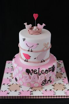 Welcome Baby Girl cake - Inspired by the clients crib bedding she bought from Pottery Barn. Pretty Cakes, Beautiful Cakes, Amazing Cakes, Cake Pops, Welcome Baby Girls, Fantasy Cake, Baby Girl Cakes, Bird Cakes, Shower Bebe