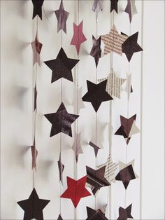 use old magazines for star decorations. use as a back drop