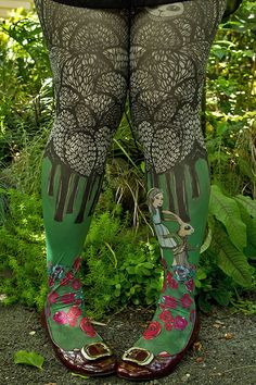 Alice Printed Tights - We're late! White Rabbit, Red Queen and Alice herself make a whimsical appearance on these printed tights. And, depending on the length of your skirt, the Cheshire Cat reveals his smile.