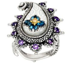 Barbara Bixby Sterling & 18K Multi-Gemstone Paisley Ring J322491