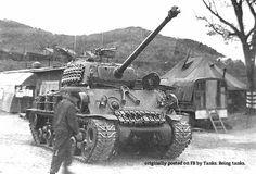 Canadian M4A3(76)W HVSS Easy 8 Sherman tank in Korea.