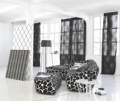 The Ying & Yang collection by JAB Anstoetz Curtain Fabric, Curtains, Yin Yang, Antalya, Monochrome, Furniture Design, Upholstery, Black And White, Interior Design