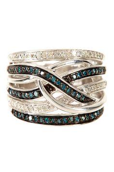 Pave White & Blue Diamond Woven Ring - 0.50 ctw