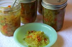 An heirloom recipe, Million Dollar Relish is a sweet pickle relish made from cucumbers, onion and sweet red and green bell peppers.