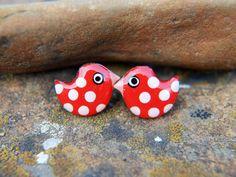Red Bird Earrings  Fun Bright Enameled Spotty Polka by CinkyLinky  Look at these whimsical earrings!