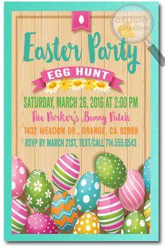 Vintage Rustic Easter Egg Hunt Invitations Party Design Bunny