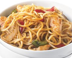 The term Lo Mein literally means mixed or stirred noodles, so it's no surprise that we stir-fry noodles with chicken, fire roasted onions, green and red peppers and bean sprouts in a savory Lo Mein sauce.