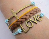 Bracelet- God love you bracelet,cross bracelet,love bracelet,brown braid bracelet-Z187