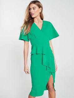 V By Very Kimono Sleeve Ruffle Front Pencil Dress - Green, Green, Size Women - Green - 20 Pencil Dress, Peplum Dress, Figure Model, High Leg Boots, Occasion Wear, Women's Leggings, Green Dress, Dress Outfits, Kimono