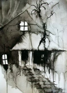 """""""Into the Haunted"""" by *a-mac088 @deviantART. watercolor and black ink"""