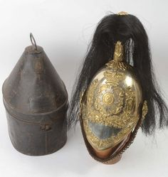 c1850 Queen's Own Glasgow Yeomanry FD Helmet with Plume & Named Tin.