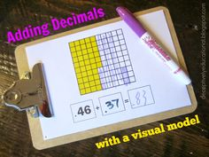 Relentlessly Fun, Deceptively Educational: Adding Decimals with a Visual Model Math Resources, Math Activities, Fifth Grade Math, Fourth Grade, Math Anchor Charts, Sumo, Homeschool Math, Homeschooling, Math Intervention