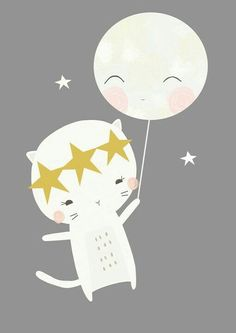 Moon and Kitten Art Print Kids Prints, Art Prints, Baby Posters, Baby Art, Cute Illustration, Nursery Wall Art, Cute Art, Art For Kids, Kids Room