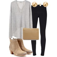 A fashion look from April 2014 featuring black leggings, suede boots and lamb leather handbag. Browse and shop related looks.