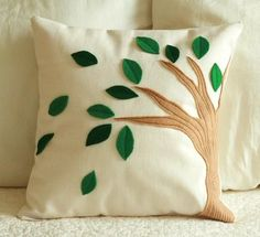 Brown, Green Felt Tree Embroidered 14 Inch Pillow Cover, Bedroom, Living Room by CreekBedThreads on Etsy - Photo --I like the creamy background Felt Flower Pillow, Felt Pillow, Crochet Pillow, Cute Pillows, Diy Pillows, Decorative Pillows, Throw Pillows, Cushion Embroidery, Felt Cushion
