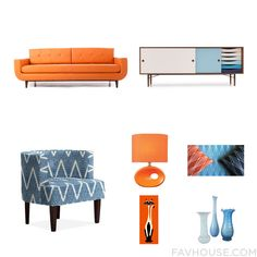 Design Wishlist Including Joybird Furniture Sofa Mid Century Modern Credenza Williams-Sonoma Accent Chair And Orange Table Lamp From March 2016 #home #decor