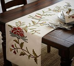 I want this for my dining room table! Multi-Crewel Embroidered Table Runner #potterybarn