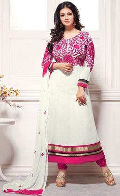USD 28.07 Ayesha Takia White Bollywood Salwar Kameez 43188