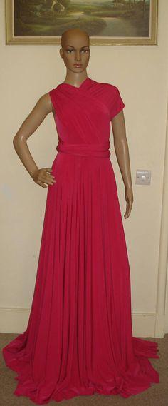 4ea54e9a75e0 Hot Pink Infinity Bridesmaid Dress Convertible Prom Dress Formal Dress  Party Dress Multiway Dress Soft Touch Floor Length Dress Wrap Dress