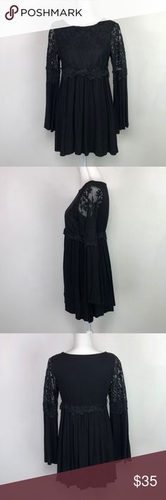 4f87aef7ef668b Lily Whyt Black Lace & Bell Sleeve Dress Lily Whyt Black Lace & Bell