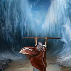 Moses parts the Red Sea Religious Pictures, Bible Pictures, Jesus Pictures, Religious Art, Jesus Christ Images, Jesus Art, Jesus Painting, Bible Illustrations, Moise