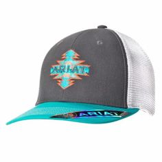 Enjoy the great outdoors in style with this Ariat cap by M&F Western Products. It features a grey material with turquoise and coral contrast stitching. Also has an Aztec look Ariat logo for a very unique look. Hooey Hats, Youth Baseball Gloves, Baseball Caps, Types Of Hats, Hat For Man, Cute Hats, Caps For Women, Fashion Accessories, Fashion Hats