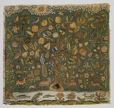 e Tree of Life, first half of 17th century English Canvas worked with silk thread; tent, Gobelin, and couching stitches 22 1/2 x 24 1/8 in. (57.1 x 63.1 cm) Gift of Irwin Untermyer, 1964