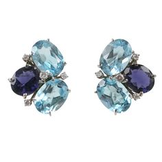 Blue Topaz and Iolite Pebble Earrings | From a unique collection of vintage stud earrings at https://www.1stdibs.com/jewelry/earrings/stud-earrings/
