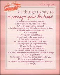 Encourage your husband