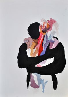 "vale-agapi: "" lovers watercolors on paper by valentini mavrodoglou """