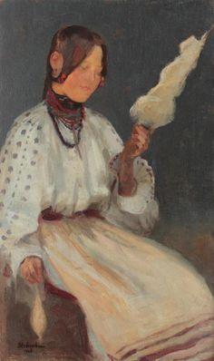 Ipolit Strâmbu  - Ţărăncuţă cu fuior. Romanian People, 15th Century, Spinning, Vermont, Folk, Costume, History, Beauty Inside, Coups