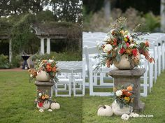 Floral wedding ceremony decor in white pumpkins for Disney themed garden wedding.