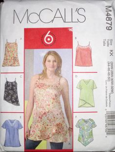 McCalls Womens Plus 6 Easy Pullover Tunic Tops Pattern 4879 UC 26W-32W