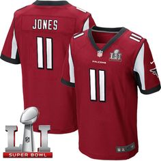 Nike Falcons #11 Julio Jones Red Team Color Super Bowl LI 51 Men's Stitched NFL Elite Jersey