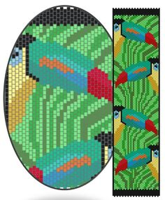 Rainbow Toucan PDF peyote bracelet pattern