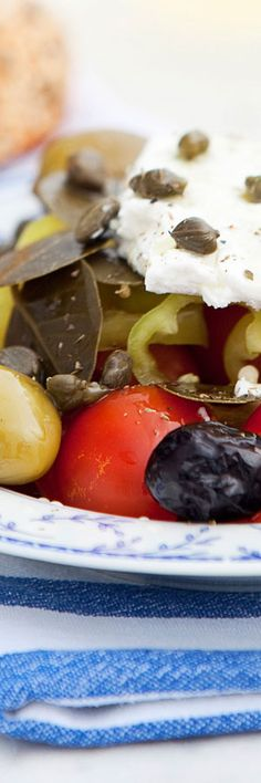 Greek Salad Santorini Style with cherry tomatoes, capers and Feta cheese
