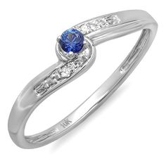10K White Gold Round Blue Sapphire and White Diamond Crossover Swirl Ladies Bridal Promise Engagement Ring * Special  product just for you. See it now! : Promise Rings Jewelry