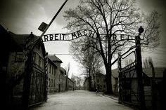 "Entrance to Auschwitz. ""Arbeit Mach Frei"", ""Work will make you free."""