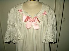 White Cotton Antique Victorian Night Gown Pink Ribbon Trim - www.the-gatherings-antique-vintage.net