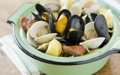 This one-pot meal packs in potatoes, sausage, clams and mussels without a lot of prep. Serve with crusty bread for soaking up the flavorful juices. Be sure to set bowls on the table for the discarded shells.