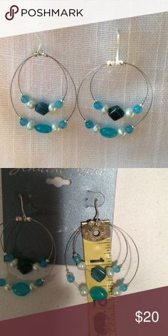 BRAND NEW Silver Plate Blue Stone Hoop Earrings Brand: unbranded  Condition: Brand new with tags  Material: silver plate and genuine stone (I don't know what stone in particular)  MSRP: $40  📦Bundle and save💰5%! ❌Price is firm unless bundled❌ unbranded Jewelry Earrings