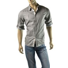 Special Offers ending soon! http://www.ebay.com/sme/imagestudio714/offers.html?&_trksid=p2047675.m1563 | Guess Shirt Mens Jamal Plain Chambray Button Down Shirts Size M NEW Gray $68 #Guess #ButtonFront