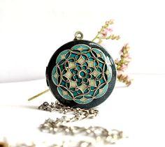 Wedding Locket Necklace Bridal Jewelry #teal