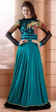 Glamorous Sky Blue And Black Georgette Anarkali Suit With Dupatta