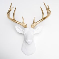 Large Deer Head - White and Gold Deer Head Wall Mount - 14 Point Stag Head Antlers Faux Taxidermy ND0108 by NearAndDeer on Etsy https://www.etsy.com/listing/211061801/large-deer-head-white-and-gold-deer-head
