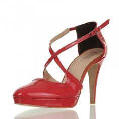 FIRENZE Damen leder Plateau-Pumps rot Absatz 10 cm Schuhe Damen Pumps