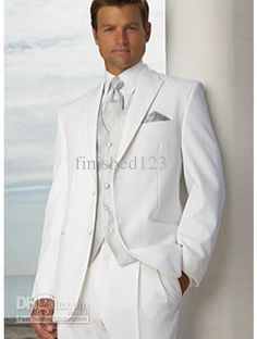 Wholesale Suits Tuxedo - Buy High-grade Two Buttons Peak Lapel White Groom Tuxedos Wedding Bridegroom/Groomsman Best Man Suit EFF:131, $109.0   DHgate