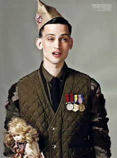 Love this mens military fashion editorial shot. Anyone know who the photographer, model or stylist is ?